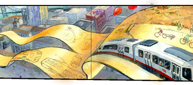 sketch of banner with transit vehicle outlines we never got a chance to paint on the final mural